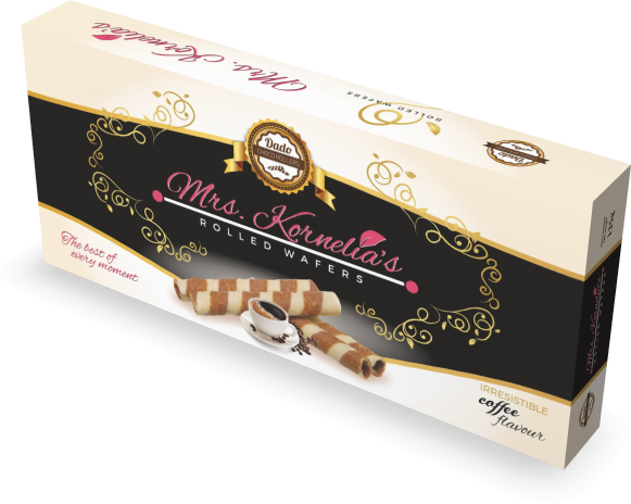 Wafer rolls filled with cream flavored with coffee