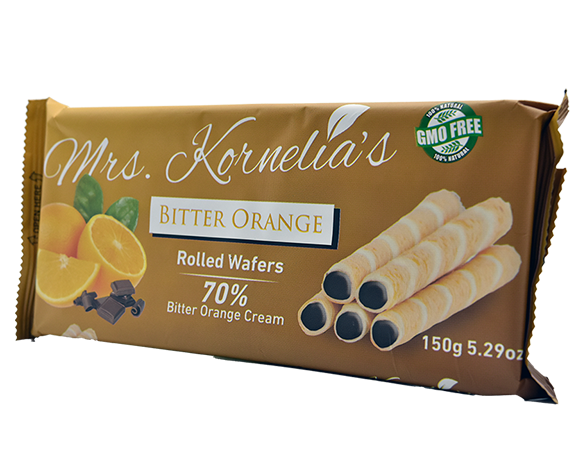 Wafer rolls filled with cream flavored with orange