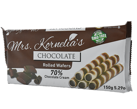 Wafer rolls filled with chocolate cream