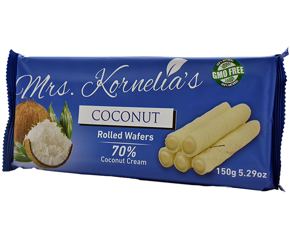 Wafer rolls filled with cream flavored with coconut