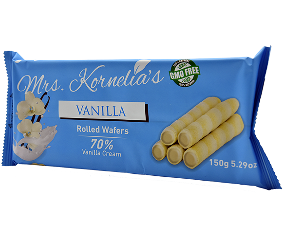 Wafer rolls filled with cream flavored with vanilla